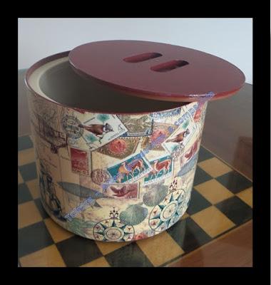 DECOUPAGEM EM BALDE DE GELO; reciclagem; decoração; artesanato; utensílio de bar