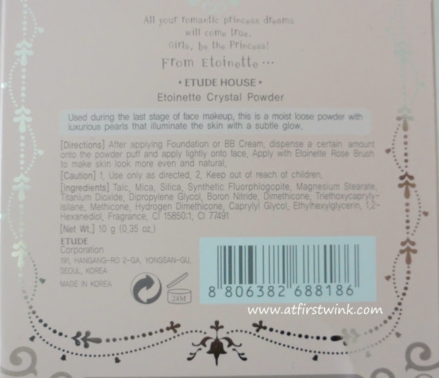 ingredients of the Etude House Crystal Powder