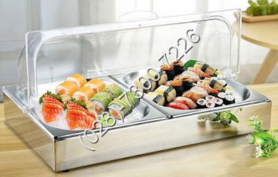 Khay inox trưng bày thức ăn buffet chữ nhật 2 ngăn trưng bày thức ăn lạnh có nắp pc