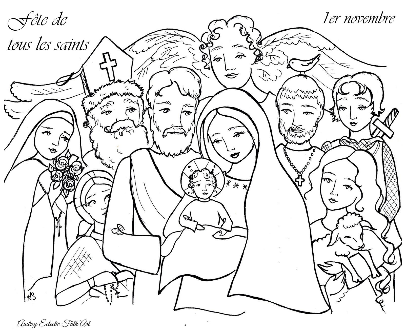 Coloriage : la fête de tous les saints