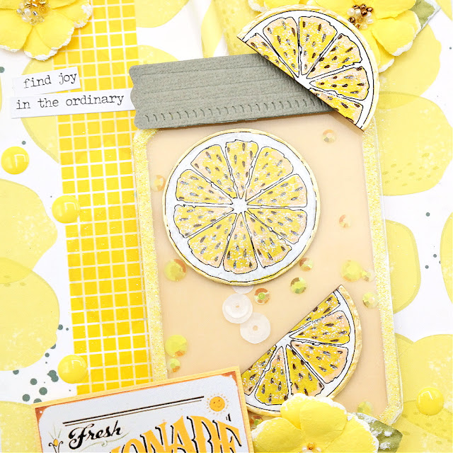 Mason Jar Shaker Element Filled with Painted Lemon Slice Chipboard Pieces and Sequins