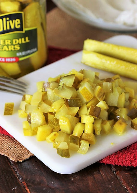 Chopped Pickles to Make Pickle Dip Roll-Ups Image