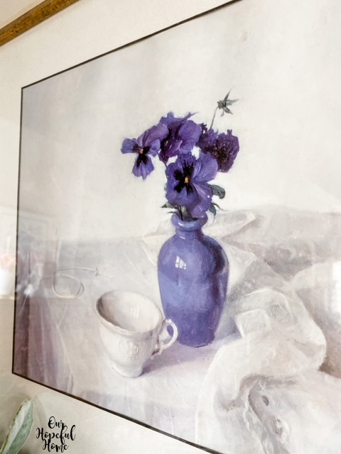 blue pansy vase painting