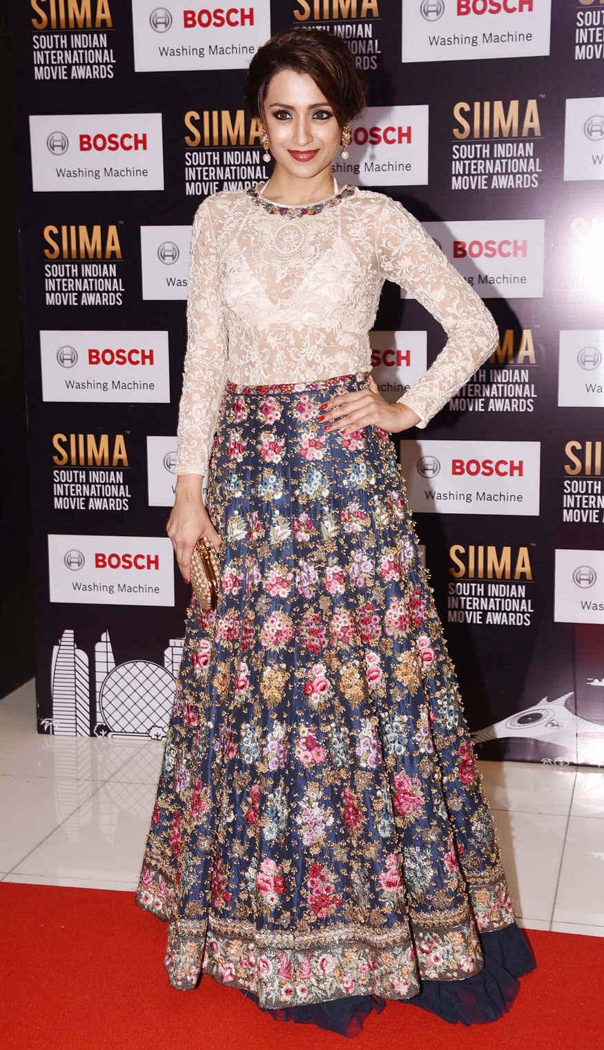 Trisha Krishnan Poses 6th SIIMA at Abu Dhabi National Exhibition Centre In Abu Dhabi
