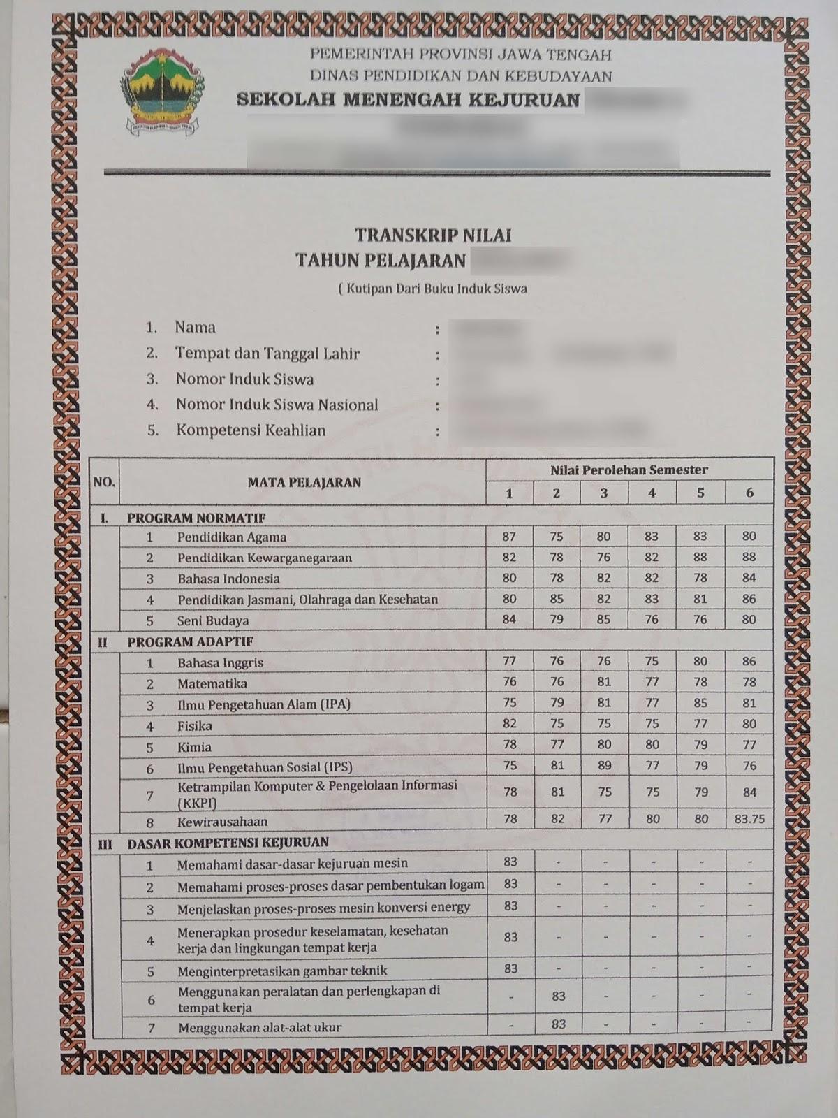 Contoh Transkrip Nilai Smk Lengkap Dari Kelas 1 Sampai Kelas 3 Kepoindonesia