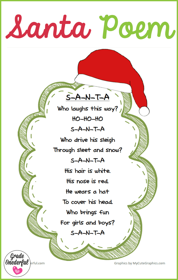 A free printable of a very cute Santa poem, brought to you by Grade Onederful. Five versions in colour and black and white.