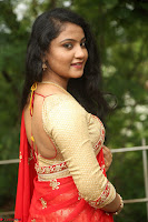 Akshara in Red Saree Golden Choli at LV Movie Makers Production No 1 Movie Opening ~  Exclusive 116.JPG