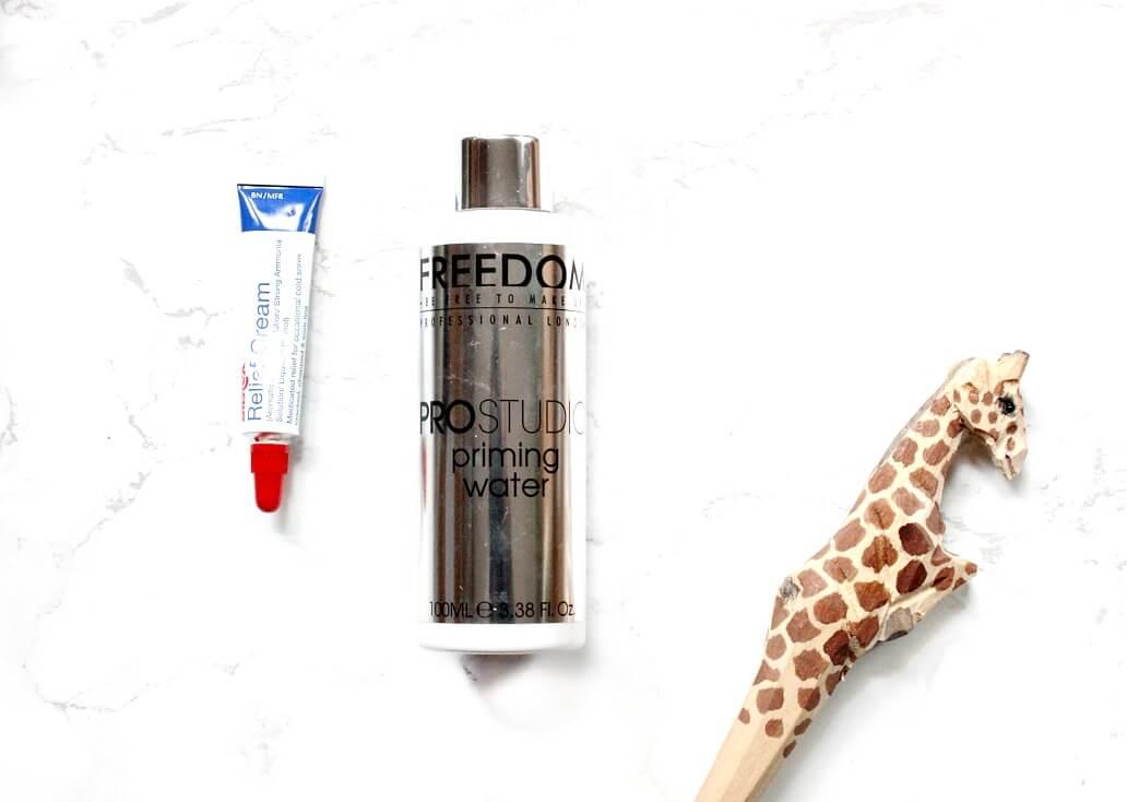 freedom pro studio priming water dupe smashbox priming water, blistex relief cream liquid lipstick prep