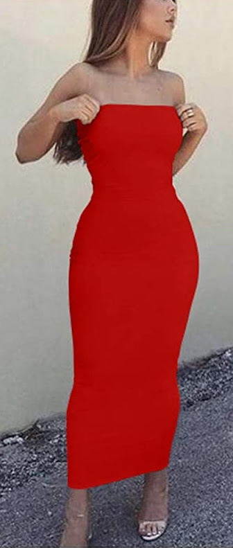 Hot Sexy Red Strapless Maxi Dresses