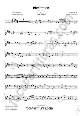 Trompeta y Fliscorno Partitura de Meditación Sheet Music for Trumpet and Flugelhorn Music Scores PDF/MIDI de Trompeta