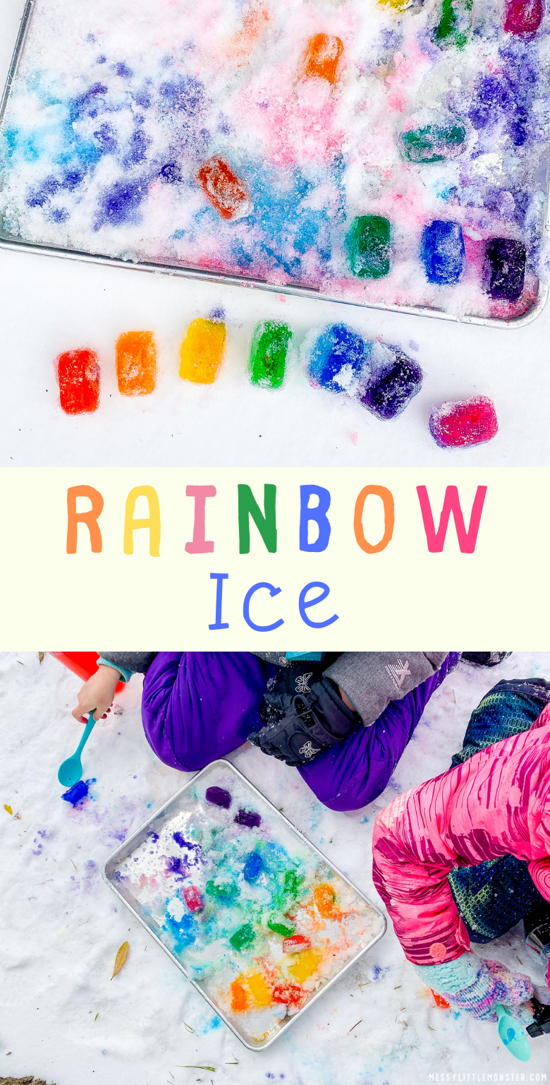 Rainbow Ice Sensory play. Ice painting in snow activity for kids.