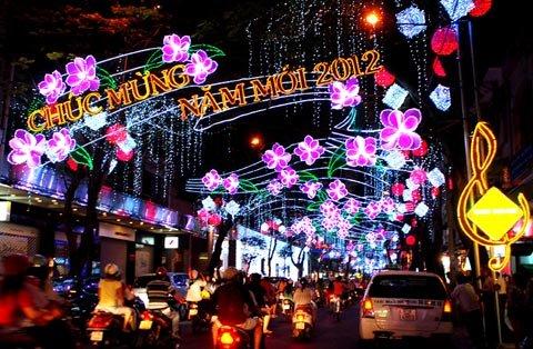 Le Loi Street a Saigon durante il Tet