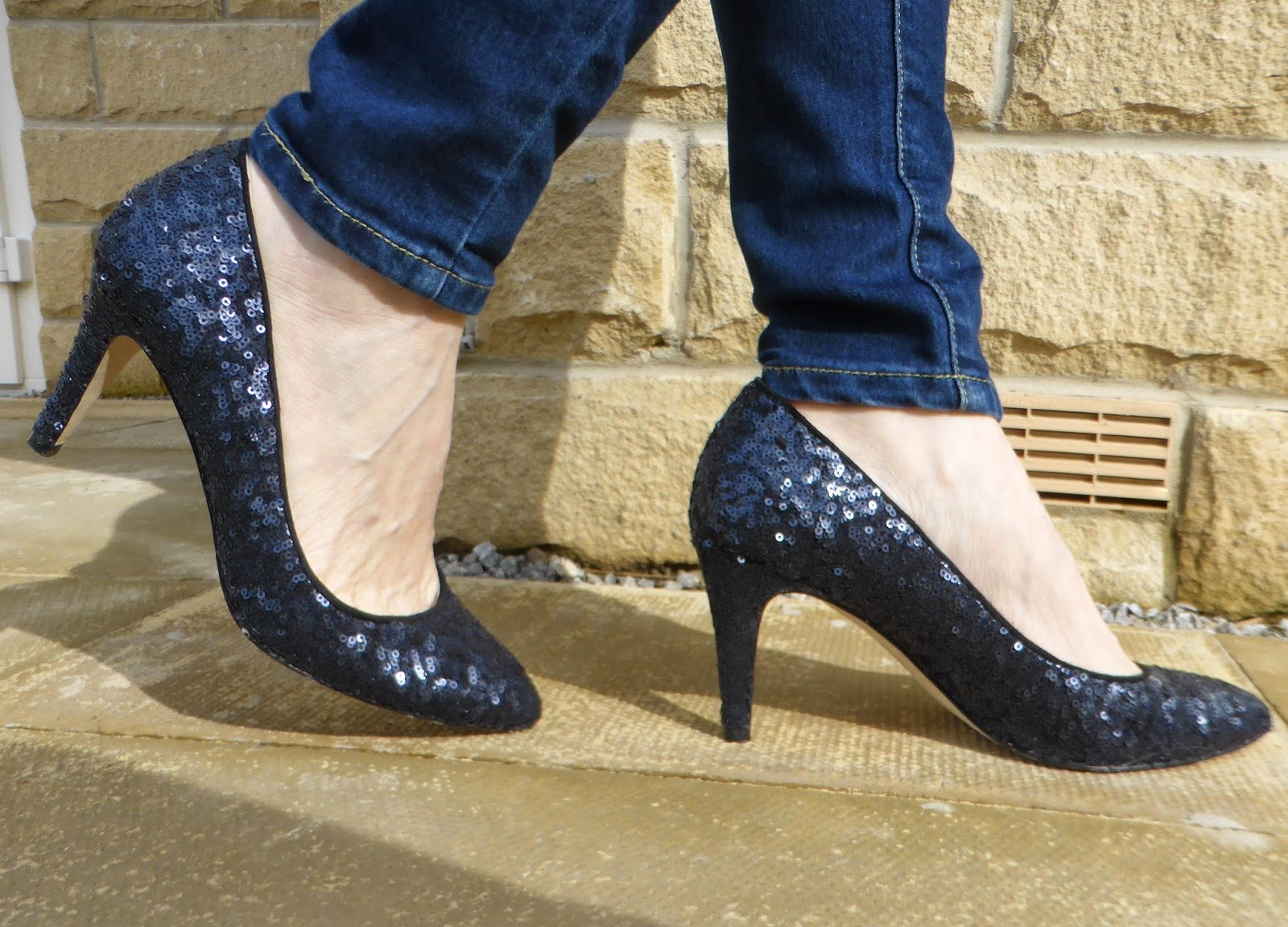 navy sequin court shoes by Boden. What Lizzy Loves, over 40s fashion blogger