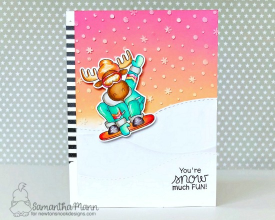 You're Snow Much Fun Card by Samantha Mann | Moose Mountain Stamp Set and Petite Snow Stencil by Newton's Nook Designs #newtonsnook #handmade
