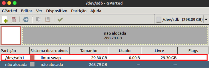 particao swap com gparted no linux ubuntu