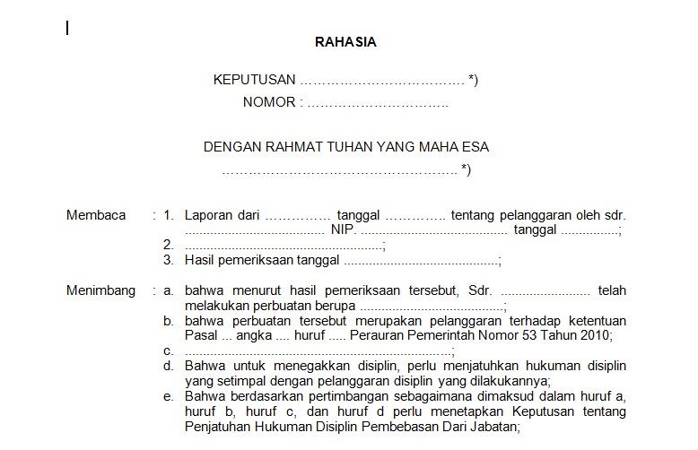 Contoh Surat Keputusan Hukuman Disiplin Pembebasan Dari