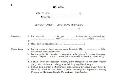 Contoh Surat Keputusan Hukuman Disiplin Pembebasan Dari Jabatan