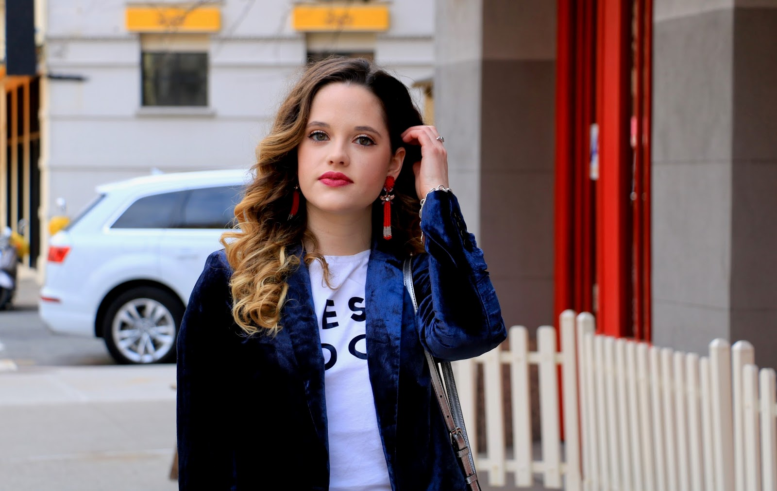Nyc fashion blogger Kathleen Harper wearing Anthropologie red statement earrings