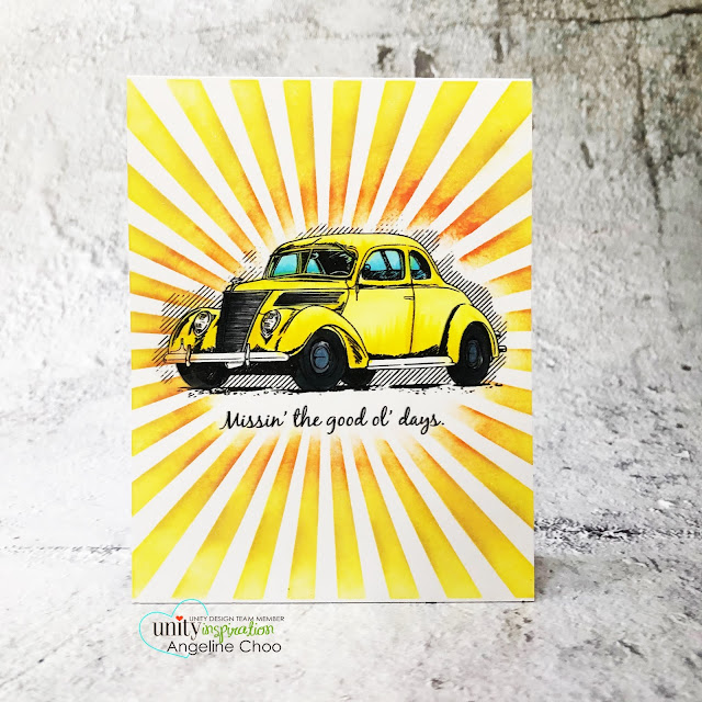 ScrappyScrappy: Brand NEW release by Unity Stamp - Good Ol Days #scrappyscrappy #unitystampco #cardmaking #stamp #papercrafting #handmadecard #distressoxide #stencil #copicmarkers #tierrajackson #mftstampsstencil #mftstamp #beetle #volkswagenbeetle #yellowbug #goodoldays #classiccar #raystencil #radiatingrays