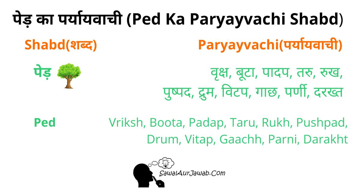 पेड़ का पर्यायवाची Ped Ka Paryayvachi Shabd Sawal Aur Jawab