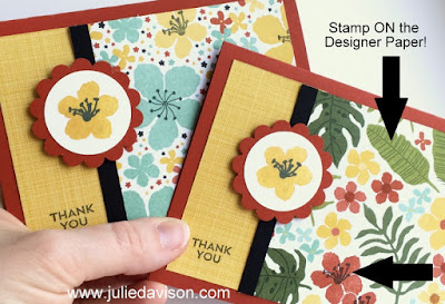 Stampin' Up! Botanical Blooms Cards - TIP: Stamp of the Designer Paper! #stampinup 2016 Occasions Catalog www.juliedavison.com