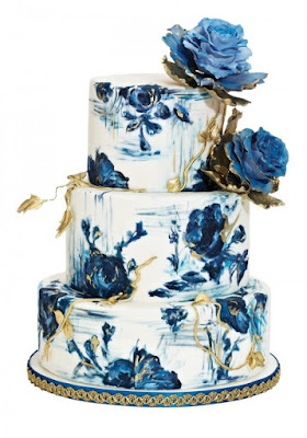 blue three tier floral cake - wedding ideas blog - wedding planning services in Philadelphia PA - K'Mich Weddings