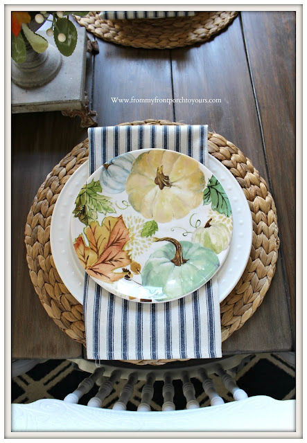 Fall -Pumpkin- Plates-French -Country- Tablescape-Cottage-FarmhouseTicking-Stripe-Napkins--From My Front Porch To Yours