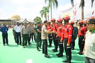 Wakili Dandim, Kasdim Tanjab Hadiri Apel Gelar Pasukan Kesiapsiagaan Penanggulangan Bencana