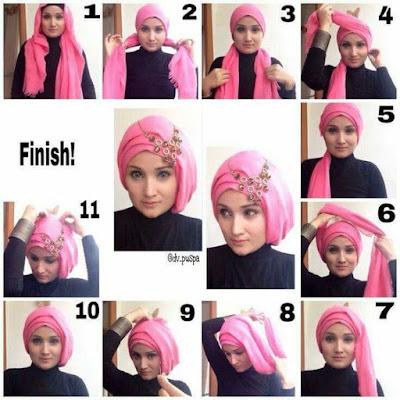 Tutorial Hijab Turban Segi Empat Modern Gaya #1 Dengan Aksesoris Headband