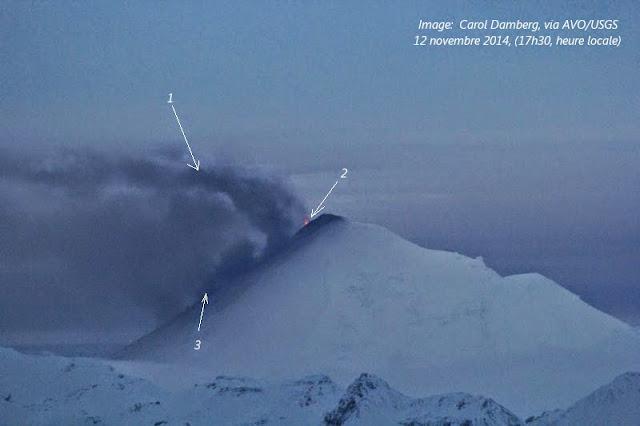 Activité éruptive du volcan Pavlof le soir du 12 novembre 2014
