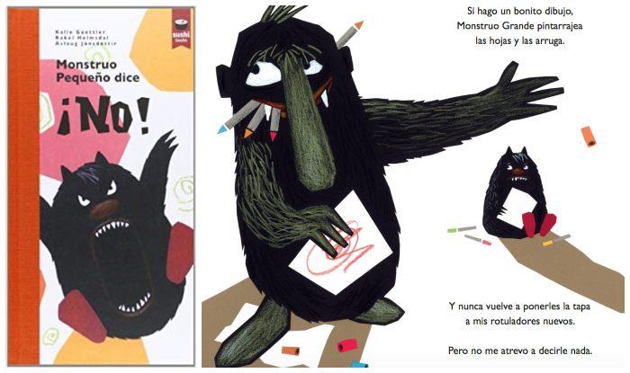 cuento infantil para trabajar enseñar asertividad a los niños, monstruo pequeño dice no