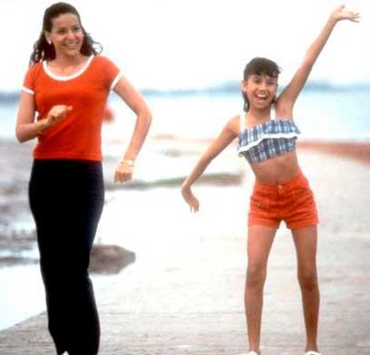 Selena e mãe na praia