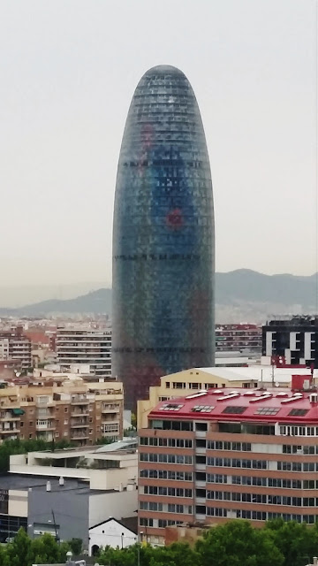 "Torre Agbar or ""Dildo Building"" as show from the terrace of the hotel."