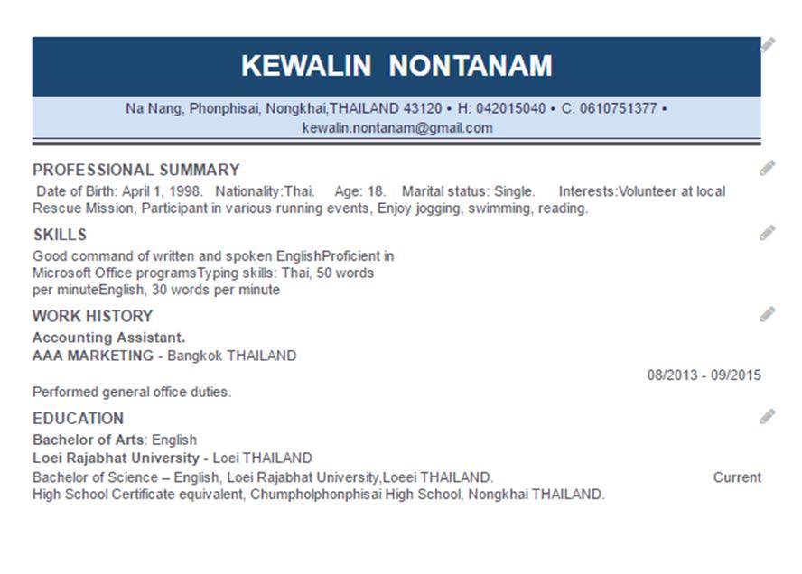my perfect resume kewalin nontanam