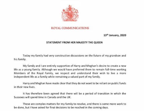 Oświadczenie królowej ws. Meghan i Harry'ego!