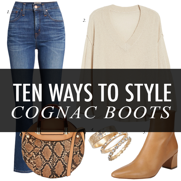 cognac boots, snake bag, crop jeans, sweater, rings