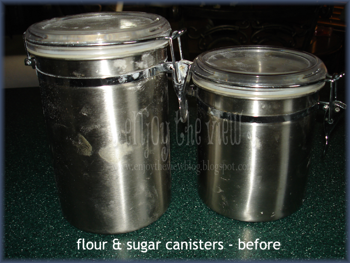 dirty stainless steel canister