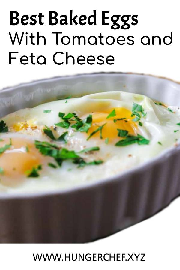 Best Baked Eggs With Tomatoes and Feta Cheese #bestrecipe #breakfast #baked #eggs #bakedeggs #tomatoes #cheese #healthybreakfast #breakastrecipe #fetacheese