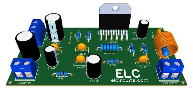 68W Hi-Fi Audio Power Amplifier - IC LM3886T + PCB