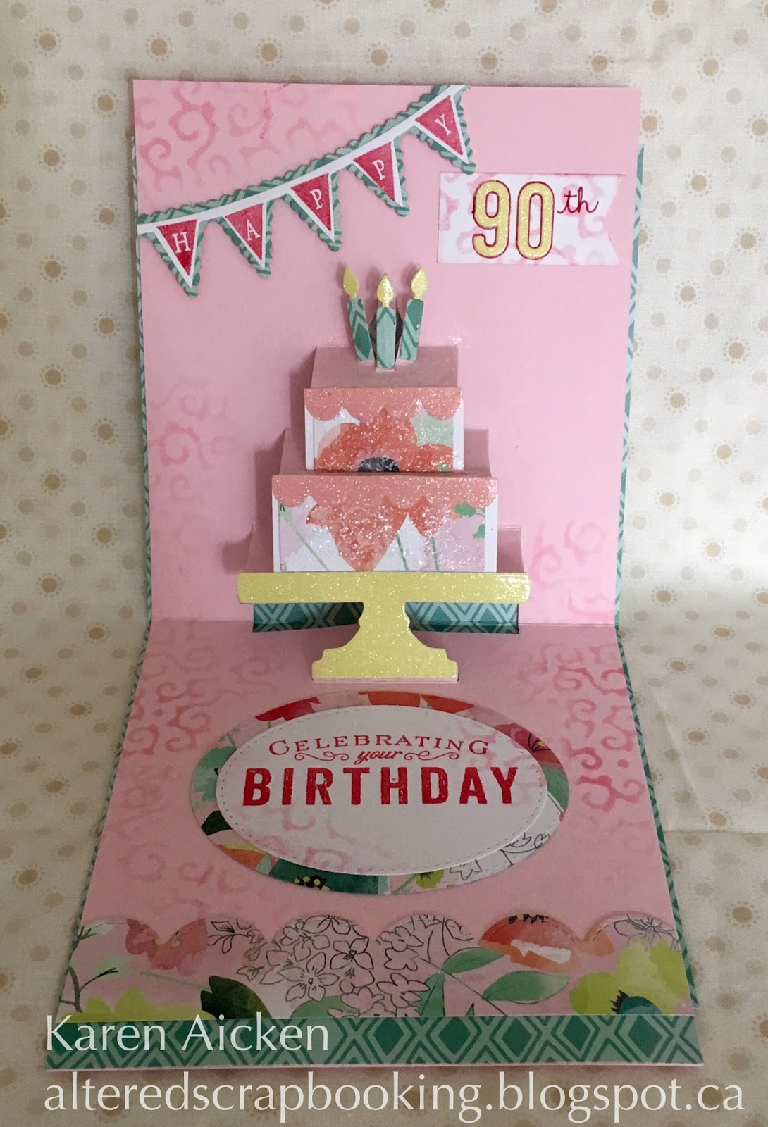 Altered scrapbooking 90th birthday pop up cake card 90th birthday pop up cake card bookmarktalkfo Image collections