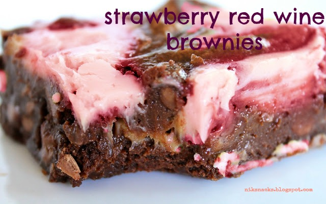Strawberry Red Wine Cream Cheese Brownies