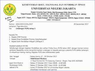 Daftar Peserta dan Undangan PLPG Tahap 3 Tahun 2017 Rayon 109 Universitas Jakarta (UNJ)