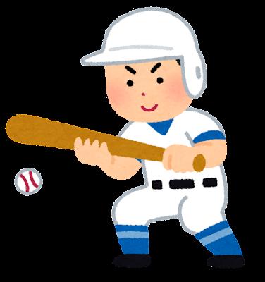 野球のバントのイラスト(男性)