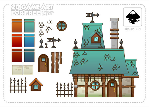 2D Game Art for FREE: Houses - reusable game assets