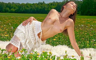 Полуобнаженная, девушка, тело, грудь, соски, поза, лежит, трава, цветы, поляна, природа