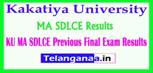 Kakatiya University MA (SDLCE) Previous Final 2018 Exam Results