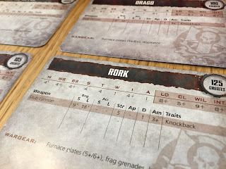 A selection of character cards from Necromunda: Underhive.