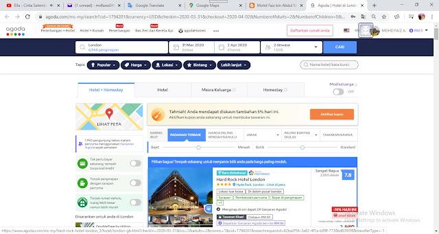 Senarai Hotel @ Kediaman Yang Diduduki Sepanjang Percutian