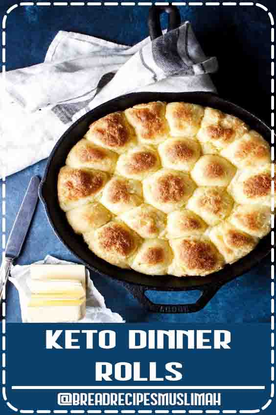 These easy Keto Dinner Rolls are fluffy, tasty, and make a great side dish or slider bun for sandwiches, burgers, and more! Based on the original fat head dough this low carb bread just can't be beat. Made in a cast iron skillet too! #glutenfree #keto #ketorecipe #lowcarbrecipe #lchf #lowcarbdiet #ketodiet  #Bread #Recipes #easy #keto