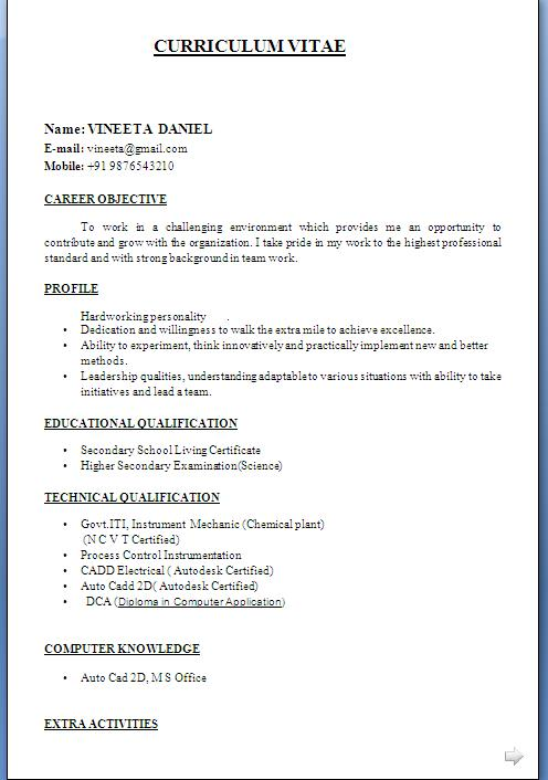 ITI Fresher Resume Format in Word Free Download
